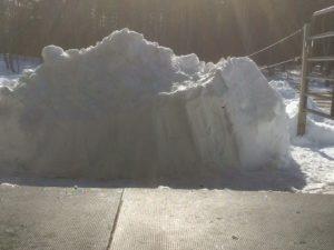 Snow Bank Back of Barn