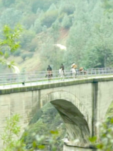 The Untethered team crosses No Hands Bridge, part of the Western States Trail